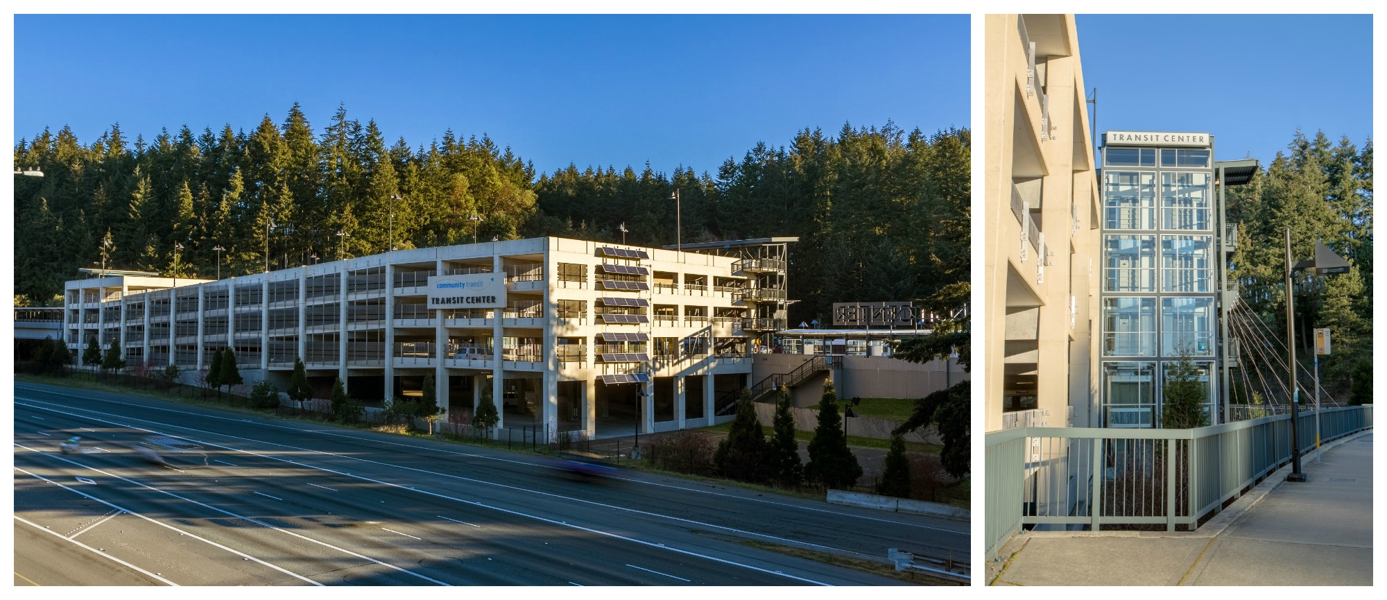 The Mountlake Terrace Transit Center includes 890 parking spaces, and is served by Bus 511, Bus 512, and Bus 513.